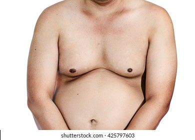 Fat man with a big belly. Diet isolated on white background