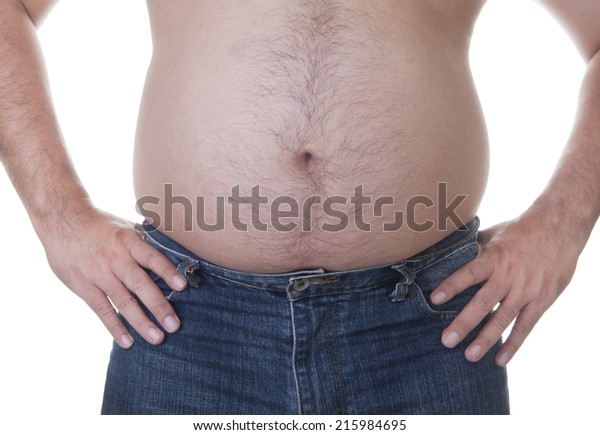 Fat man with a big belly. Diet