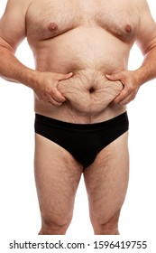 Fat man with a big belly. Side view. Isolated over white background. Vertical.
