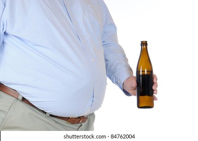 Fat man with a bottle of beer isolated on white