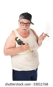 Fat man with a cigar who is confused about tools