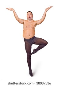 Fat man dancing ballet on a white background. Obese dancer stands on one leg. Ballet master in tight pants. Ballet show. Art dance from the fat naked man. Obese man dancing classical ballet.