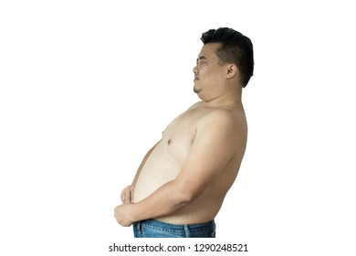 Fat man does not wear a shirt,overweight man trying on cloth ,on white backgroun, copy space