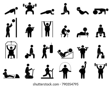 Fat man fitness training. Seamless background. Gym cardio strength exercise. Body building. Healthy training.  Raster version.