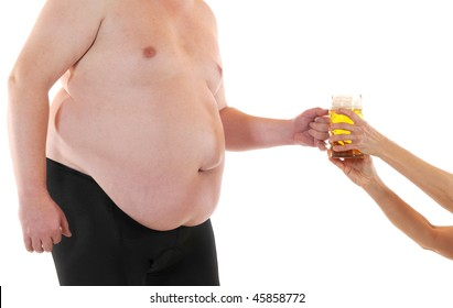 Fat man gets a fresh beer