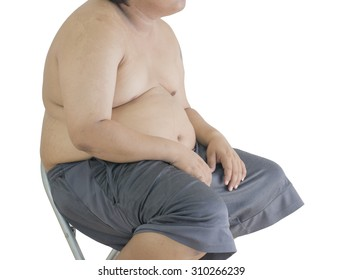 Fat man has a big paunch sitting on the chair, No.3