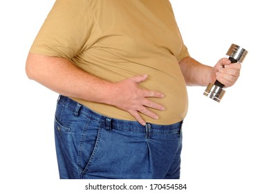 Fat man isolated on white