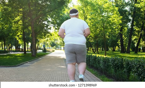 Fat man jogging in park, weight loss program, healthy lifestyle, back view