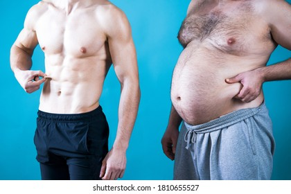 Fat man. Muscular and fat. Different bodies. Before and after diet and workout. Muscular and fat mans. Weight loss. Two men measure their fat