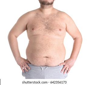 Fat man on white background. Weight loss concept