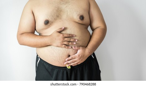 Fat man ,overweight man with big belly on white background in studio.