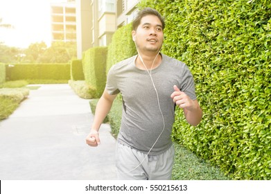 fat man running for  lose weight