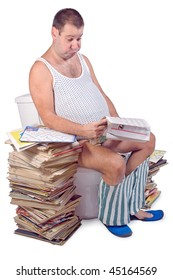 Fat man sitting on the toilet isolated on white background. Man with a heap of newspapers relaxes on the toilet bowl. Readers sitting on the toilet with a stack of magazines. Relax on the toilet.