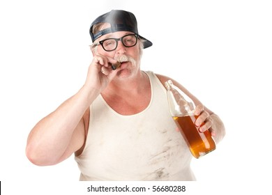 Fat man with smoking a cigar and holding a 40 oz beer