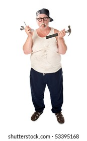 Fat man in tee shirt with multiple tools