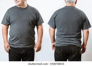 Fat man t-shirt mockup -gray t-shirt mockup on elderly man - front and back