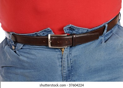 Fat man in very tight jeans