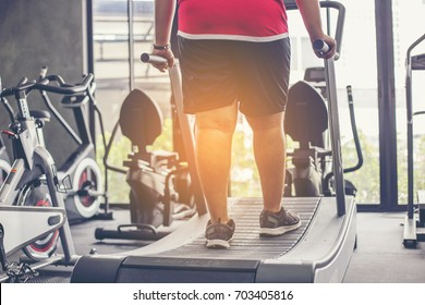fat man walking on treadmill at fitness gym