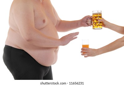 Fat man wants to take a  beer