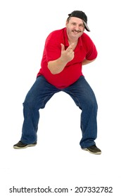 Fat mature chap in red polo shirt trying to dance rap on white background