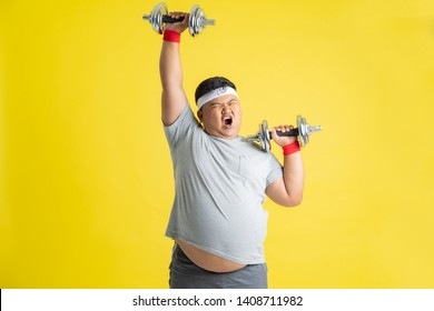 Fat men are exercising by lifting weights.