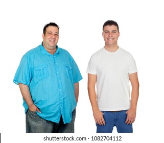 Fat and men smiling and looking at camera isolated on a white background