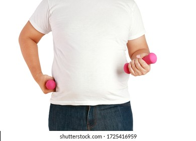 Fat men wear white shirts, carrying pink dumbbells to exercise to lose weight. Overweight concept and is the cause of many diseases, health care. white backgrounds. isolated. clipping path