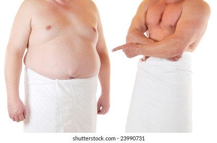 Fat and muscular man beneath each other