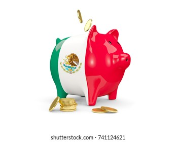Fat piggy bank with fag of mexico and money isolated on white. 3D illustration
