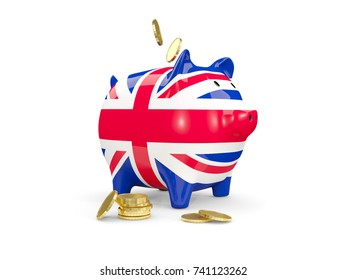Fat piggy bank with fag of united kingdom and money isolated on white. 3D illustration