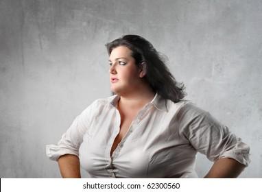 Fat sad woman