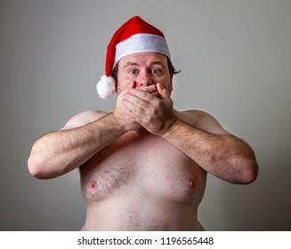 fat santa holding his mouth closed