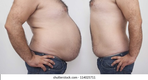 Fat and slim man opposite each other on gray  background - before and after diet