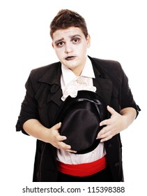 Fat teenager dressed as a vampire for Halloween