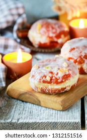 Fat Thursday celebration - traditional polish donuts filled with marmalade.