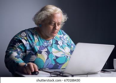 fat woman at the computer