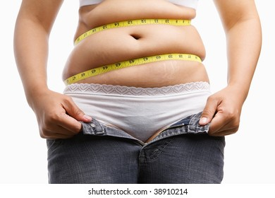 fat woman holding her unzip jeans with measuring tape around her belly, a concept to get a diet