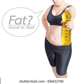 fat woman show vegetable oil over cholesterol concept good or bad text bubble isolated on white