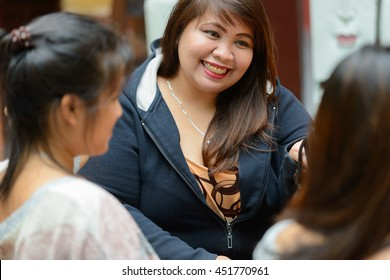 Fat woman smiling