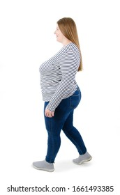 Fat Woman Walking, side view. Isolated on white background