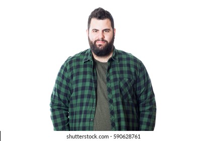 Fat young man with green checkered shirt isolated on white background
