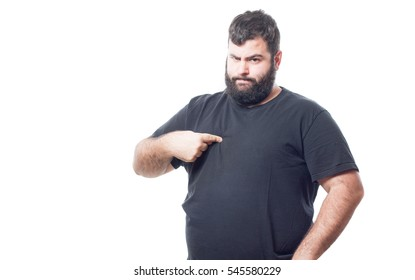 Fat young man making a gesture pointing to himself isolated on white background