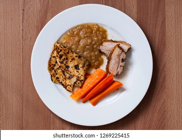 Fatback with potato pancake, gravy and carrots - traditional czech meal