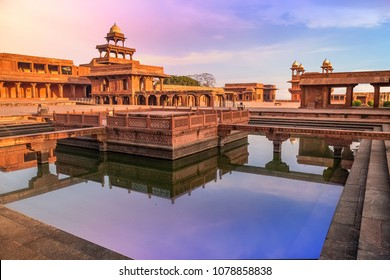 Fatehpur Sikri Agra, India with view of Anup Talao at sunrise