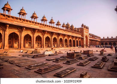 Fatehpur Sikri, India, December 2017. A view of Courtyard Palace with Tombs in Fatehpur Sikri complex which is a historical city constructed by Mughal emperor Akbar, Agra, India.