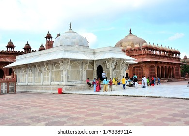 Fatehpur Sikri, India, July 23rd 2018 - Tomb of sufi saint, Sheikh Salim Chisti, mausoleum made of carved white marble