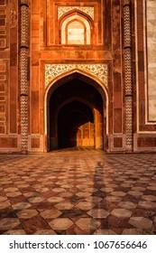 Fatehpur Sikri, Uttar Pradesh, India - October 2, 2017 : Beautiful light inside of the mosque, Near Taj mahal, Agra, Uttar Pradesh, India