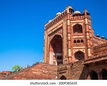 FATEHPUR SIKRI, UTTAR PRADESH, INDIA - MARCH 26, 2011: Main gate to UNESCO World Heritage site  Fatehpur Sikri in Uttar Pradesh, India.