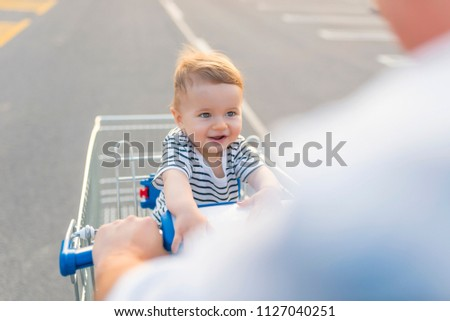 aa775c678 Father Baby Boy Going Shopping Car Stock Photo (Edit Now) 1127040251 ...