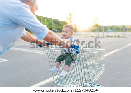 551419b36 Father Baby Boy Going Shopping Car Stock Photo (Edit Now) 1127040254 ...